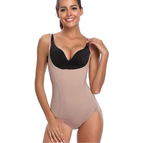 Open Bust Bodysuit Shapewear for Women Full Body Briefer Shaper Tummy Control Underwear Nude