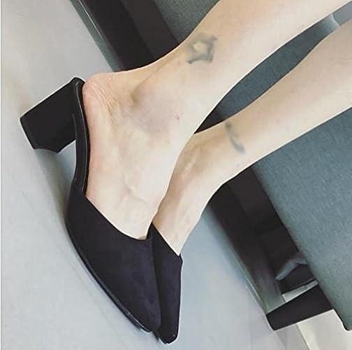AWXJX Tongs Femme Chaussures été Fond épais Usure extérieure Haut Talon Confortable blanc 6 US 36 EU 3.5 UK