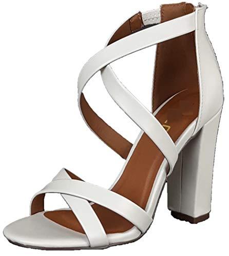 Cambridge Select Damen Crisscross Riemen Chunky Block High Heel Sandale, Weiá (Weiß - White Pu), 37 EU