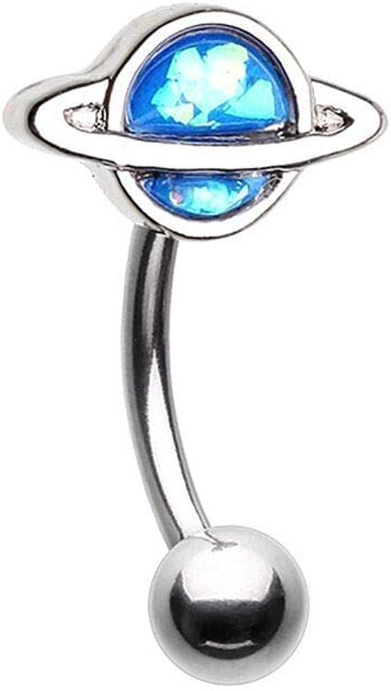 Saturn Planet WildKlass Curved Barbell Eyebrow Ring