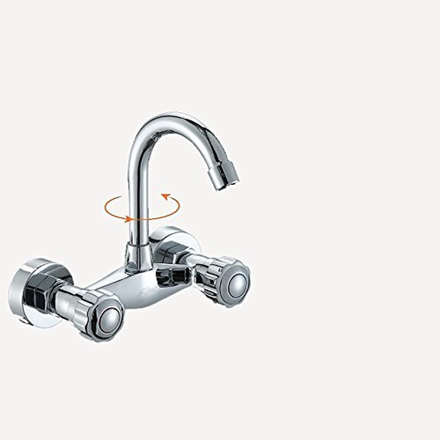 DYR Faucet Kitchen Faucets in the Wall Balcony Faucet Hot and Cold All Copper Double Handle Double Hole Faucet (color   1)