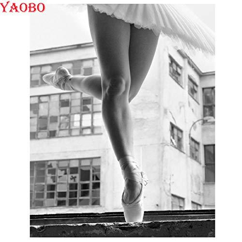 XCxCN 5D-DIY-Diamant-Mal-Kit Rundes Diamant-Ballett Mädchen Diamant-Kreuzstich-Stick-Kit Entspannen Sie Sich und Home Wanddekoration Rahmenlos -40x50cm