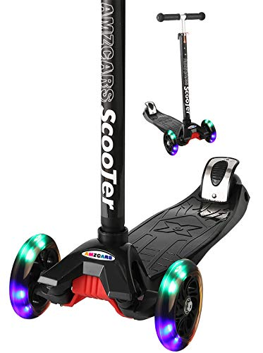 AMZCARS 3 Wheels Kick Scooter for Kids and Toddlers Girls or Boys - Adjustable Height Pu Flashing Wheels Lean to Steer, Extra Wide Deck Best Gifts for Children from Ages 2-14 Years Old