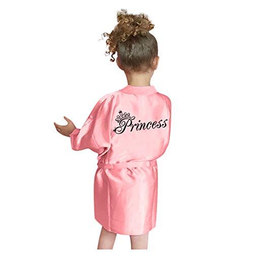 Shan-S Toddler Baby Kids Girls Solid Silk Satin Kimono Robes Bathrobe Sleepwear Pajamas Nightgown for Spa Party