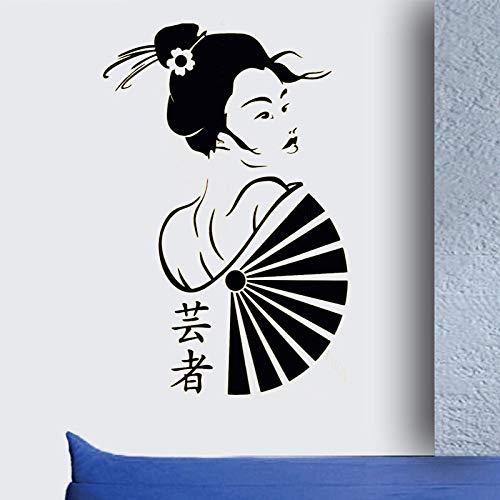 Blrpbc Adhesivos Pared Pegatinas de Pared Manga Geisha Vinilo Pegatina Chica Oriental Japón Anime decoración Japonesa murales de Geisha Japonesa Papel Tapiz 57x87cm