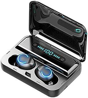 SIWEI F9 TWS Auriculares inalámbricos Bluetooth 5.0 con lámpara de respiración auricular estéreo intraural, auriculares inalámbricos con pantalla LED de electricidad, caja de carga, Negro, 12 *10*3.5