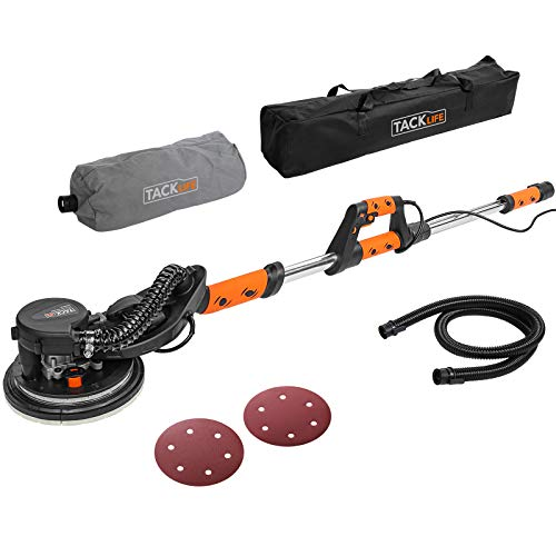 Drywall Sander, TACKLIFE 6.5 A 500-1800RPM Electric Sander With Vacuum Attachment, 6 Variable Speed & LED, Extendable Handle, Dust Hose, Storage Bag, 12 Sanding Discs Ideal for Home DIY and Decoration
