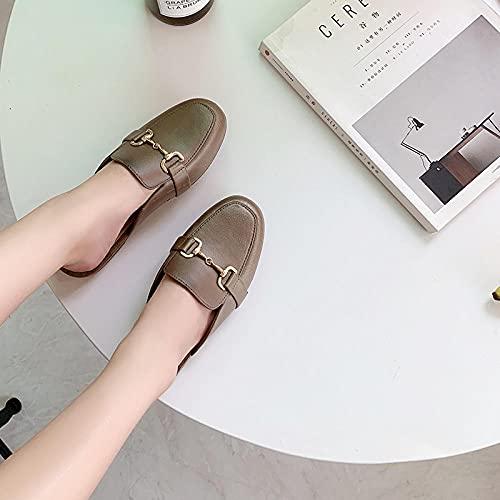 YYFF Chanclas para Adulto Mujeres,Exterior con Medio Paquete Plano, Zapatos de Playa Casuales-Bronze_37,Zapatillas de Casa