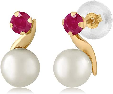 Gem Stone King 14K Yellow Gold 0 28 Ct Round 3mm Red Ruby Cultured Freshwater Pearl Earrings product image