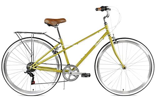 FabricBike Portobello - Bicicleta de Paseo Mujer, Bicicleta Urbana Vintage Retro, Bicicleta de Ciudad Estilo Holandesa con Cambios Shimano Sillín Confortable. (Portobello Olive)