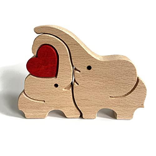 TIAS Decoración para el día de la madre, productos de madera para el día de la madre, elefante animal conejo familia decoración de madera maciza en forma de corazón, esposa / madre trabajos creativos