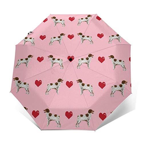 Automatischer dreifach faltbarer Regenschirm mit 3D-Außendruck, Bretagne Spaniel, Liebesblüte, rosa süße Herzen, Hund, winddicht, UV-Schutz, Regenschirme für den täglichen Gebrauch
