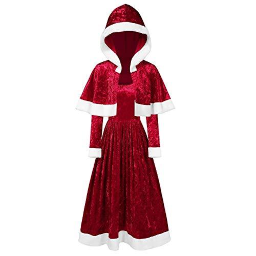 Lazzboy Frohe Weihnachten Samt Langarm O-Neck Festival Kleid Und Kapuzenumhang Weihnachtsmann Kostüm Cosplay Für Erwachsene(Rot,S)