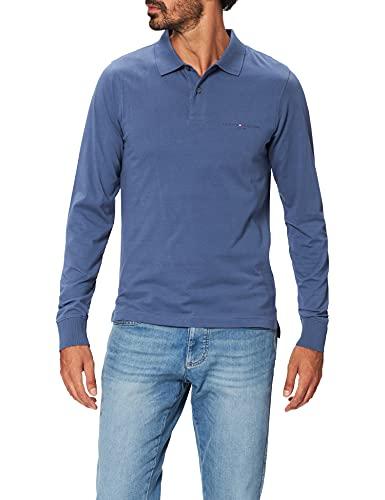 Tommy Hilfiger Clean Jersey Slim LS Polo Camisa, Desvanecido Índigo, XL para Hombre