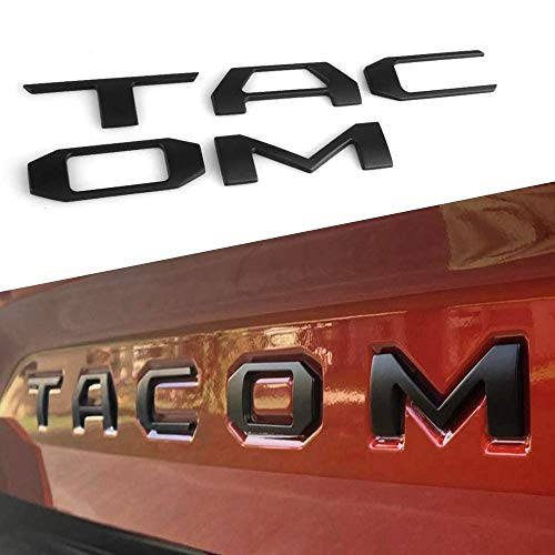 AOLEAD Tailgate Emblems Inserts Letters for Taco 2016-2021 3D Raised Metal Matte Black