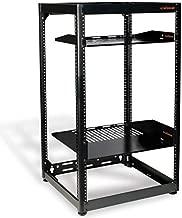ECHOGEAR 20U Open Frame Server Rack - Heavy Duty 4 Post Design Holds All Your Network & AV Gear - Includes 2 Vented Shelves & is Wall Mountable
