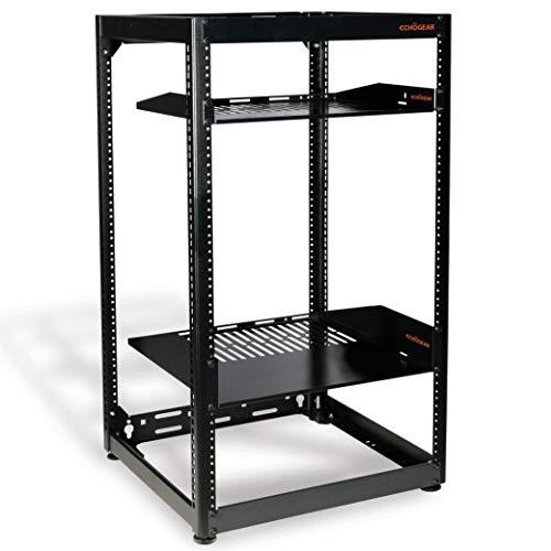ECHOGEAR 20U Open Frame Rack - Heavy Duty 4 Post Design Holds All Your Network & AV Gear - Includes 2 Vented Shelves & is Wall Mountable