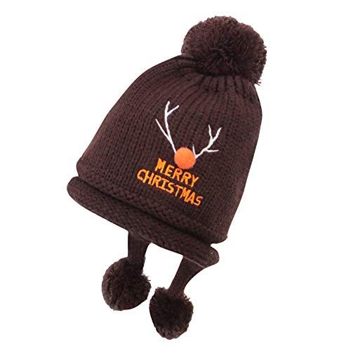 ZZBO Mütze Beanie Strickmütze Baby Unisex Wintermütze Warme Mütze Wolle Kappe Mode Kopfbedeckung mit Bommeln und Ohrenklappe Bindebändern