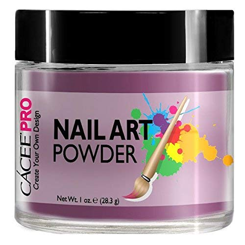 Acrylic Nails Color Acrylic Powder For Nail Art, 1oz Jar by Cacee, For Any Professional Acrylic Nail Kit, Premix of Pigments, Glitter, & Metallic Effects (Mauve Purple #23)