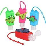 Contenedor Desinfectante Niños,Botellas De Viaje para Desinfectante Manos,Botellas De Viaje Llavero,Contenedor Desinfectante para Manos,Botes Rellenables 4pcs