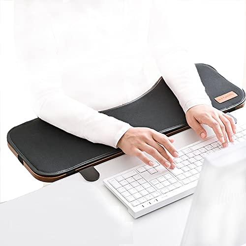 FUZADEL Ergonomics Desk Extension Shelf Foldable Desk Arm Rest Clamp On Extender Keyboard & Mouse Tray Pad, Adjustable Height & Angle Computer Desk Elbows Rest