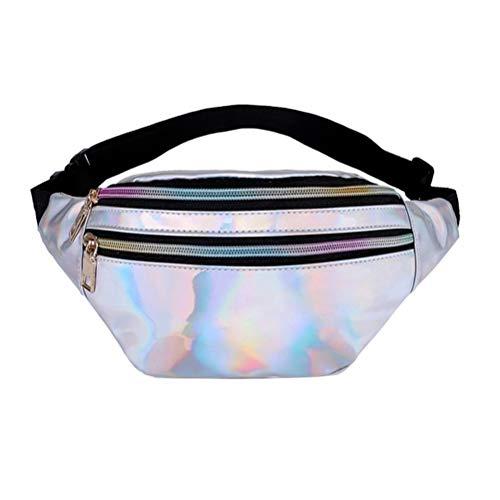 TENDYCOCO Riñonera para Mujer de Neón Bolsa metálica Brillante Bolso Wasit Bolsa Reflectante Impermeable Paquete de PU Bolsa de Viaje en la Playa (Plata)