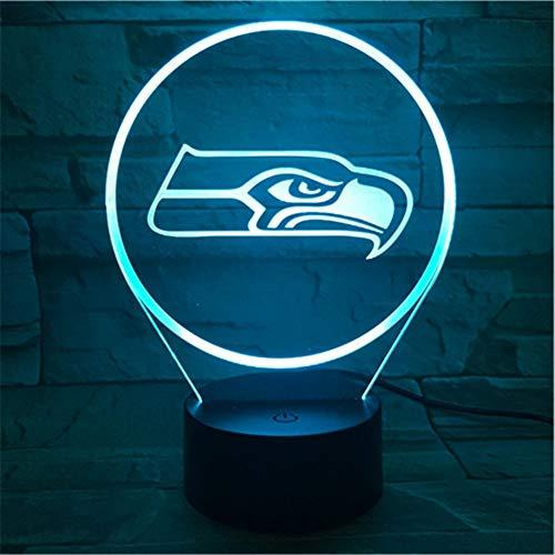 Lixiaoyuzz 3D Nachtlampe Seattle Seahawks Nachtlampe Schlafzimmer Usb Touch Sensor Kinder Kinder Geschenk Neuheit Team Logo Led American Football