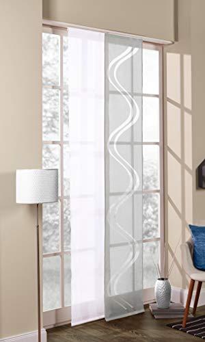 DECOLIA Schiebevorhang 2er Set, Breite: 45 cm/Länge: 245 cm, mit Flauschband inkl. Paneelwagen und Beschwerung, weiß/grau
