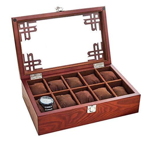 XYZMDJ Ver cuadro-10 Ranuras Caja de Reloj Reloj de la exhibición del Caso del almacenaje Organizador Gran Vidrio Top (Color : Brown)