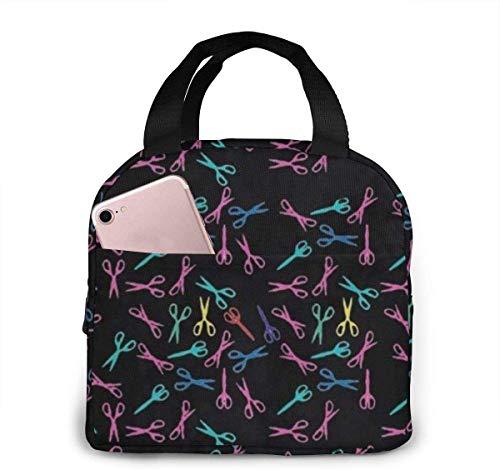 Bolsa de almuerzo de tijera de peluquería colorida para mujeres,niñas,niños,bolsa de picnic aislada,bolsa gourmet,enfriador,bolsa cálida para trabajo escolar,oficina,camping,viajes,pesca