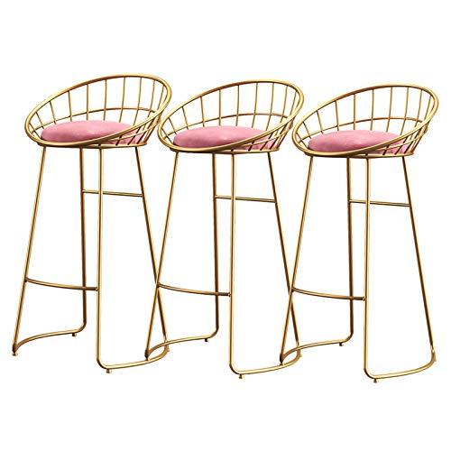 3-teiliger eleganter Barhocker-Thekenstuhl für die Frühstücksküche Cafe Velvet Seat Metallfuß mit Fußstütze 150 kg Kapazität, Sitzhöhe 65/70/75 cm, Pink,70cm(27.56in)