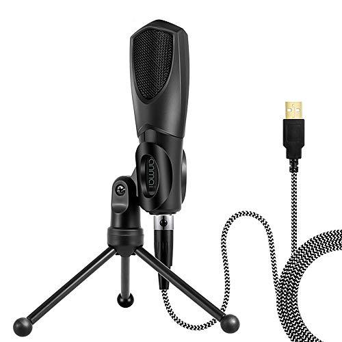 Muslady Condensatormicrofoon PC laptop microfoon desktop microfoon USB bedraad met mini-statief voor games spelen muziek online chatten opnemen zingen netwerk overdracht Live Streaming Yanmai Q3B