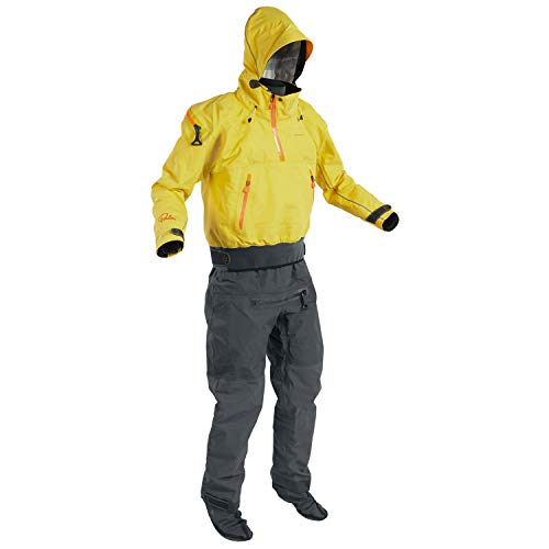 Palm Mens Bora Touring Kayak Drysuit Yellow/Jet Grey 12382 Drysuit Size - S