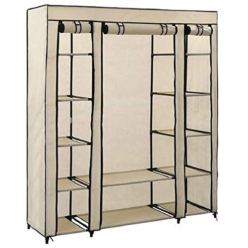 VANGALOO Armario de tela con barra, armario de tela, sistema de estantería, organizador para colgar, sistema de conexión, armario de tela, barra para colgar, 175 x 130 x 45 cm