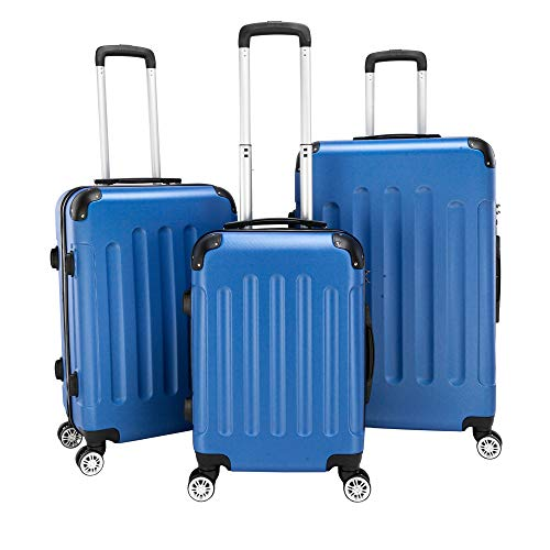 Simply-Me Luggage Sets 3 Piece Trolley Suitcase with TSA Lock,20 Inch 24 Inch 28 Inch Traveling Storage Luggage Sets with Spinner Wheels,Dark Blue