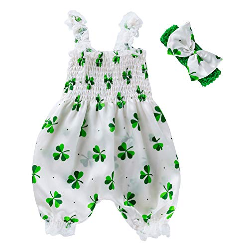 Infant Baby Girl ST Patrick's Day Outfit Lucky Charm Green Shamrock Romper Jumpsuit with Headband Clothes Set (Green Shamrocks, 12-24 Months)