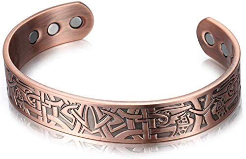 Knoijijuo Pure Copper Magnet Bracelet Men's Arthritis Pain Relief Health Bracelet Magnetic Therapy Copper Wristband Retro Health Magnet Bracelet Best,Brass