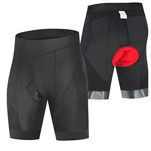 Apretado Pantalon Corto Montaña Hombre,Hombres y Mujeres Verano Culotes Ciclismo Hombre Gel Corto,Culotes Ciclismo Hombre,para Correr Deportes al Aire Libre Pantalon Corto(Size:XXL,Color:Negro)