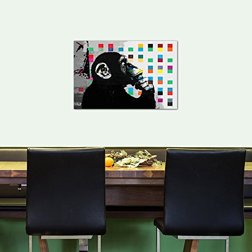 iCanvasART 2012E The Thinker Monkey Dots Close Up Canvas Print by Banksy, 40 by 26-Inch, 1.5-Inch Deep