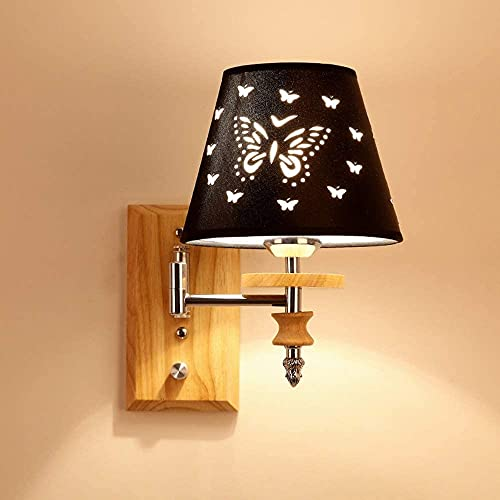 CMMT lámpara de Pared Dormitorio de Madera Maciza Moderno Minimalista Moda LED Lámpara de Lectura Pasillo Pasillo Hotel Lámpara de Noche Lámpara de Tela Lámpara de Pared 17 * 27 cm