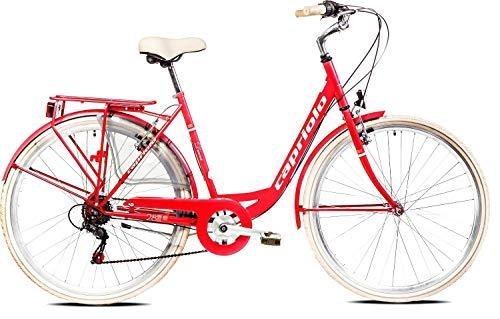 breluxx® 28 Zoll Damenfahrrad Diana Tour Citybike, rot mit Gepäckträger + Licht, weiße Reifen, 6 Gang Shimano Kettenschaltung, Made in EU