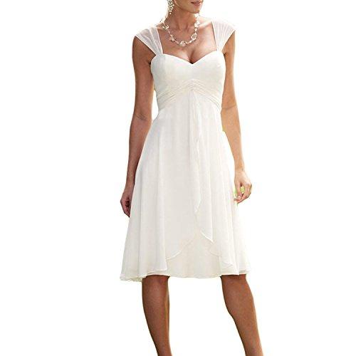 YASIOU Brautkleid Damen Kurz Weiß Chiffon Herzausschnitt A Linie Elfenbein Hochzeitskleid