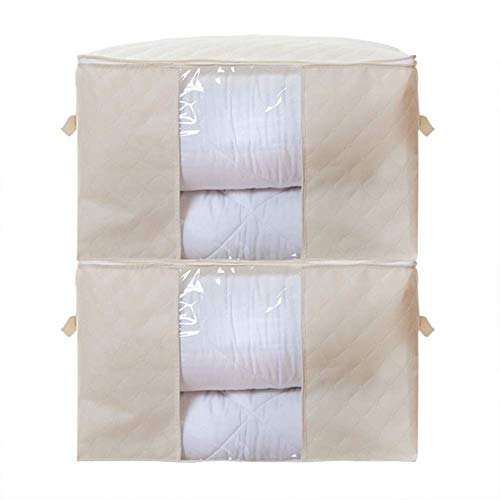 2pcs Quilts Storage Bag Non-Woven Duvet Storage Bag Large Capacity Clothes Storage Bag Organizer for Comforters, Blankets, Bedding - Beige