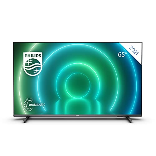 Philips 65PUS7906/12 65-Inch LED Android TV, 4K Smart TV with Ambilight, Vibrant HDR Picture, Cinematic Dolby Vision and Atmos Sound, Compatible with Google Assistance and Alexa, Black with Slim Feet