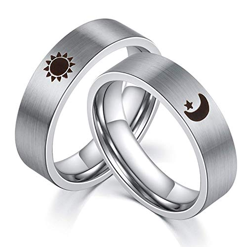 XAHH Sun and Moon Star Rings Couples Matching Set Stainless Steel Promise Wedding Bands for Him and Her,Silver Women Size 5