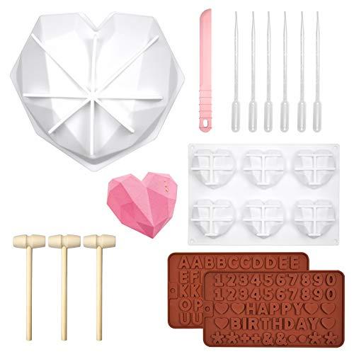 DOUBFIVSY 14 Silikon Schokoladenformen, 3D Diamant Herz Silikon Kuchenform, Buchstaben und Zahlenformen, mit Holzhammer, Tropfer und Schaber, Backform Schokolade Seife Pudding Kuchen Handgemachte DIY