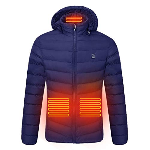 For Sale! jin&Co Men's Smart USB Abdomen Back Neck Four Electric Heating Warm Hooded Cotton Coat C...