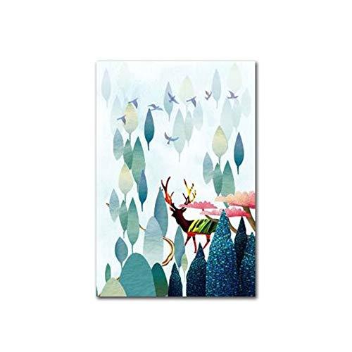 Scandinavische stijl dier hert poster en print canvas kunst aquarel woonkamer decoratie muurschildering