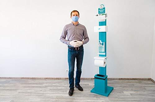 Hygiene- und Desinfektions-Station inkl. Desinfektionspender und inkl. Halterung für Papierhandtuchrolle und Handschuhe, Abfallbox 13lt.