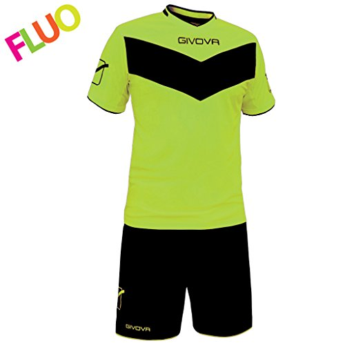 Givova, kit vittoria fluo mc, gelb fluo/schwarz, XL